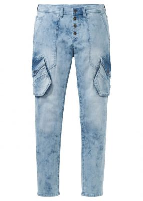 Dżinsy ze stretchem loose fit tapered bonprix niebieski \bleached""